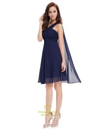 Navy Blue One Shoulder Chiffon Short Bridesmaid Dress With ...