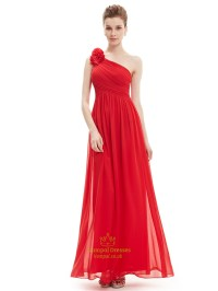 Red One Shoulder Flower Strap Chiffon Floor Length ...