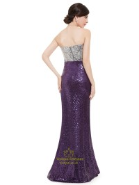 Purple And Silver Strapless Mermaid Sequin Floor Length ...