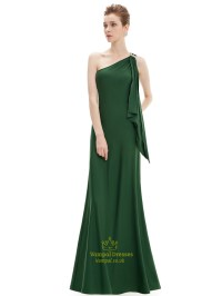 Emerald Green One Shoulder Chiffon Bridesmaid Dresses With ...