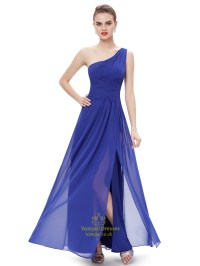 Royal Blue Chiffon One Shoulder Bridesmaid Dresses With ...