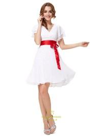 White V Neck Chiffon Flutter Sleeves Bridesmaid Dresses ...