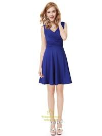 Elegant Royal Blue Short V Neck Bridesmaid Dresses With ...
