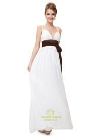 Ivory Spaghetti Strap Chiffon V Neck Bridesmaid Dress With ...