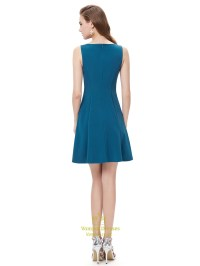 Elegant Teal Blue Short Cocktail Party Dress With Illusion ...