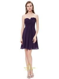 Purple Sweetheart Chiffon Short Bridesmaid Dresses With ...