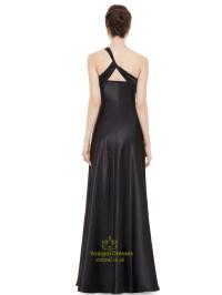 Black One Shoulder Empire Waist Bridesmaid Dresses With ...
