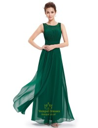 Emerald Green Chiffon Floor Length Bridesmaid Dresses With ...