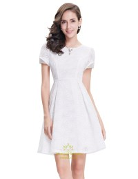 Elegant White Short Semi Formal Dresses With Short Sleeves