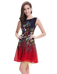 Red And Black Sleeveless Floral Print Short Chiffon ...
