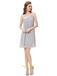 Grey One Shoulder Short Chiffon Bridesmaid Dresses With ...