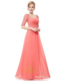 Coral Chiffon Floor Length Bridesmaid Dress With Lace Half ...
