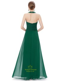 Emerald Green Chiffon Halter Neck Bridesmaid Dresses With ...