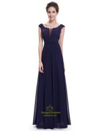 Navy Blue Chiffon Cap Sleeves Long Bridesmaid Dresses With ...