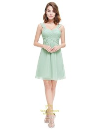 Sage Green Short Sweetheart Chiffon Bridesmaid Dress With ...