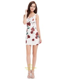 Cute White Short Mini Sheath Summer Dresses With Red ...