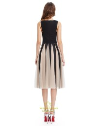 Black And Champagne Midi Length Cocktail Dress With Tulle ...