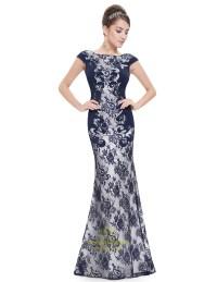 Elegant Navy Blue Mermaid Lace Prom Dress With Cap Sleeves ...