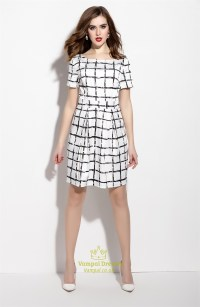 White And Black Short Checkered Dress With Short Sleeve ...