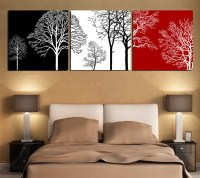 black white and red tree modern wall art oil painting home