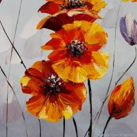 hand painted orange yellow flowers oil painting on canvas ...