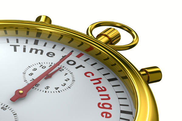 Time for change. Stopwatch on white background. Isolated 3D image