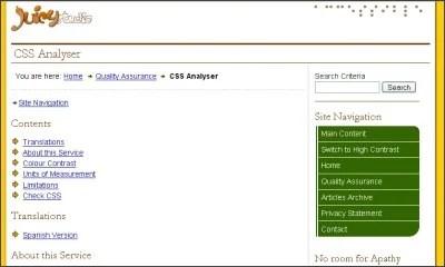 CSS Analyzer Screen Shot