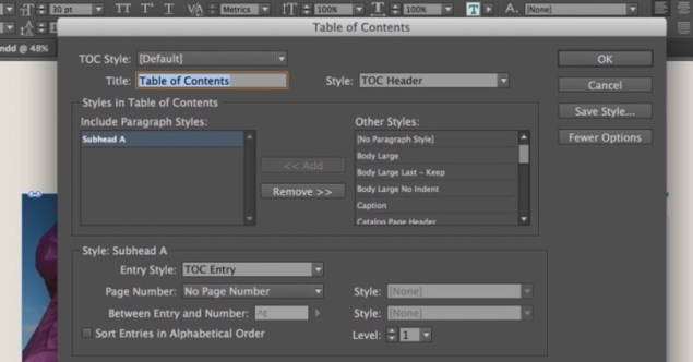 indesign cc table of contents