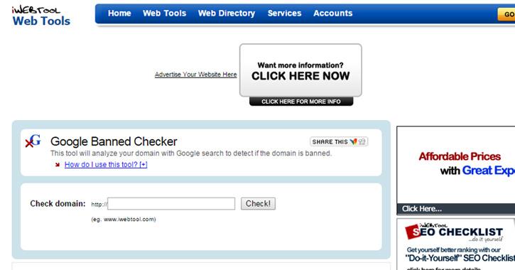 google banned links checker