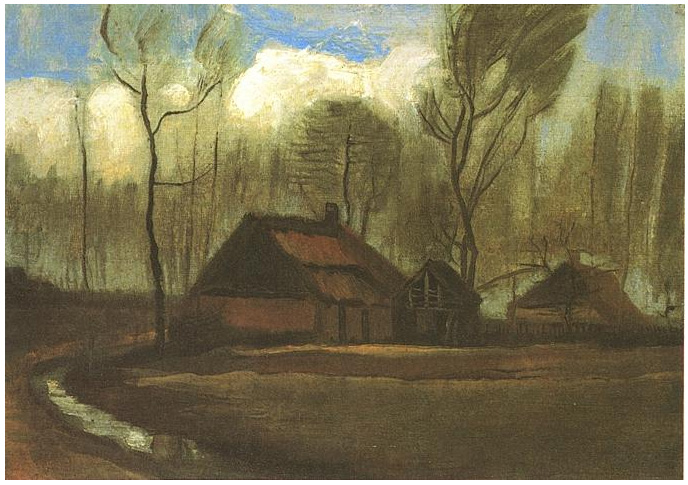 Yellow Wallpapers With Quotes Farmhouse Among Trees By Vincent Van Gogh 124 Painting