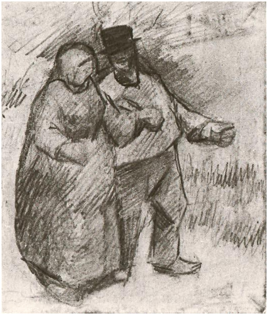 Cute Boy And Girl Friendship Wallpapers Walking Couple By Vincent Van Gogh 1701 Drawing Pencil