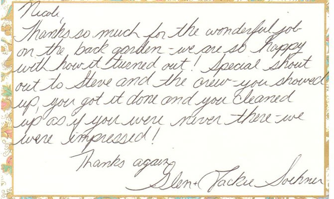 A Letter Of Thanks \u2013 Van Oordt Landscaping