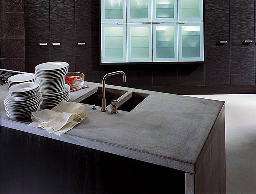Stylish Dark Kitchen Design With Industrial Touches DigsDigs - arbeitsplatte küche beton