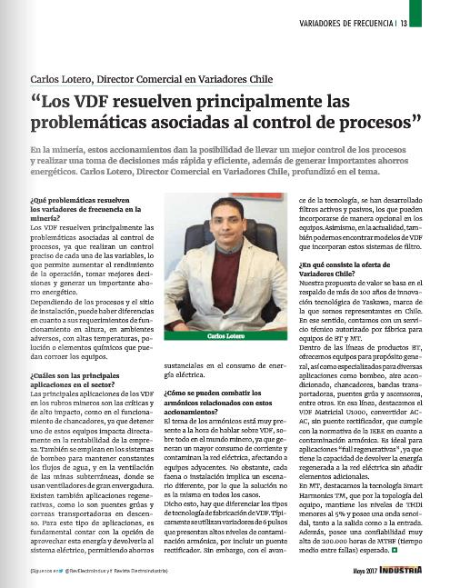 Entrevista Revista Electroindustria: Variadores de Frecuencia para la Minería