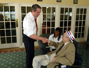 US Senate Candidate Tim Donner speaks to 90 year old Mr. Fullerton for his 'Second Wind Wish'