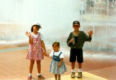 Amber, Julie, and Adam at the Olympic Fountain in Atlanta GA