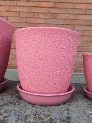 цветочный горшок Глория шелкография розовый