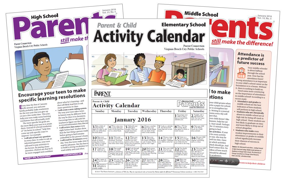 Parent Connection\u0027s January newsletters and activity calendars