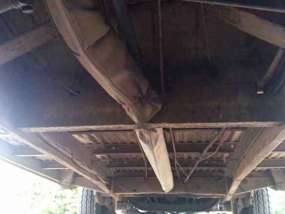 the original under structure of the bus is in great solid condition