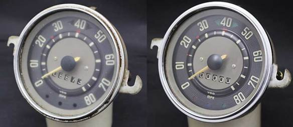 before and after comparison of speedo refurbishment