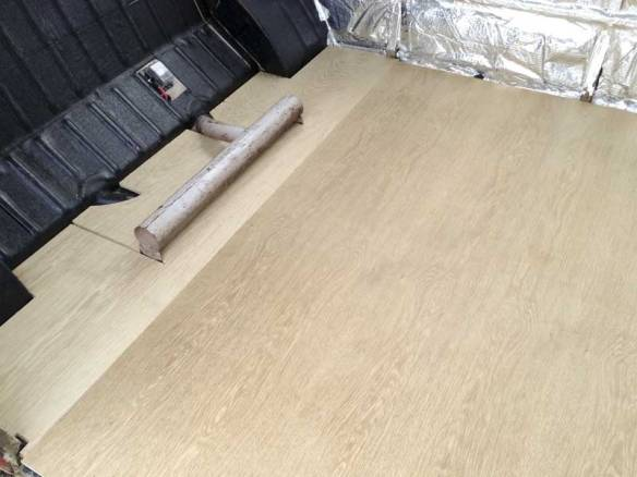 trial fitting of the top layer of Oak faced 5mm WBP ply layer at 90º to the base layer
