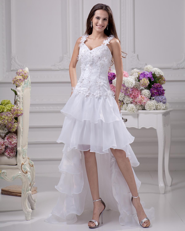 petite wedding dresses mini wedding dress Strapless Sheath Mini Bridal Dress with Appliques