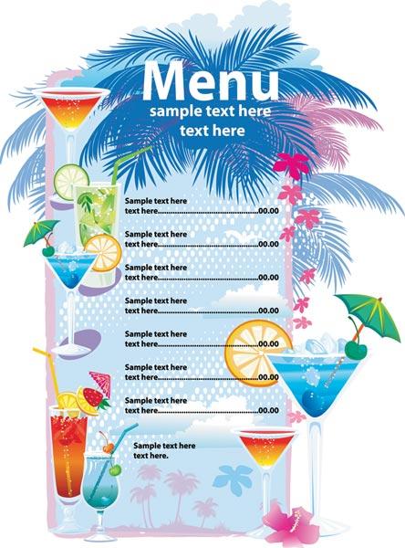 Alcoholic drinks menu vector template - drinks menu template