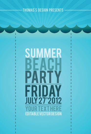 Beach party flyers vector templates