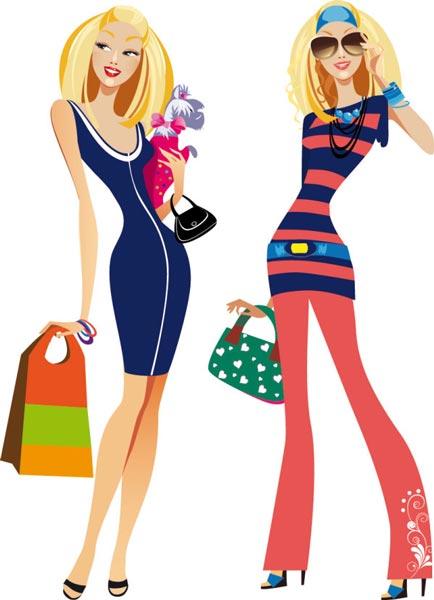 Fashion girls at shopping vectors