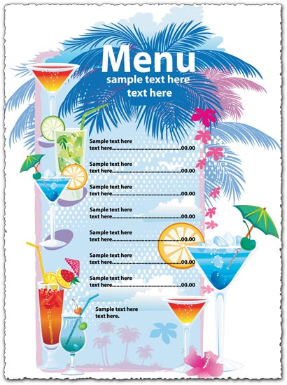 free drink menu templates eps vectors for download