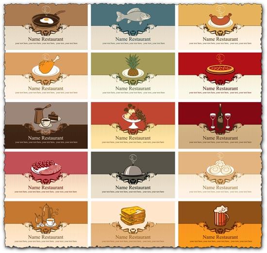 Restaurant business cards vector models