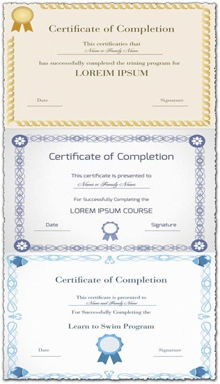 blank certificates of completion