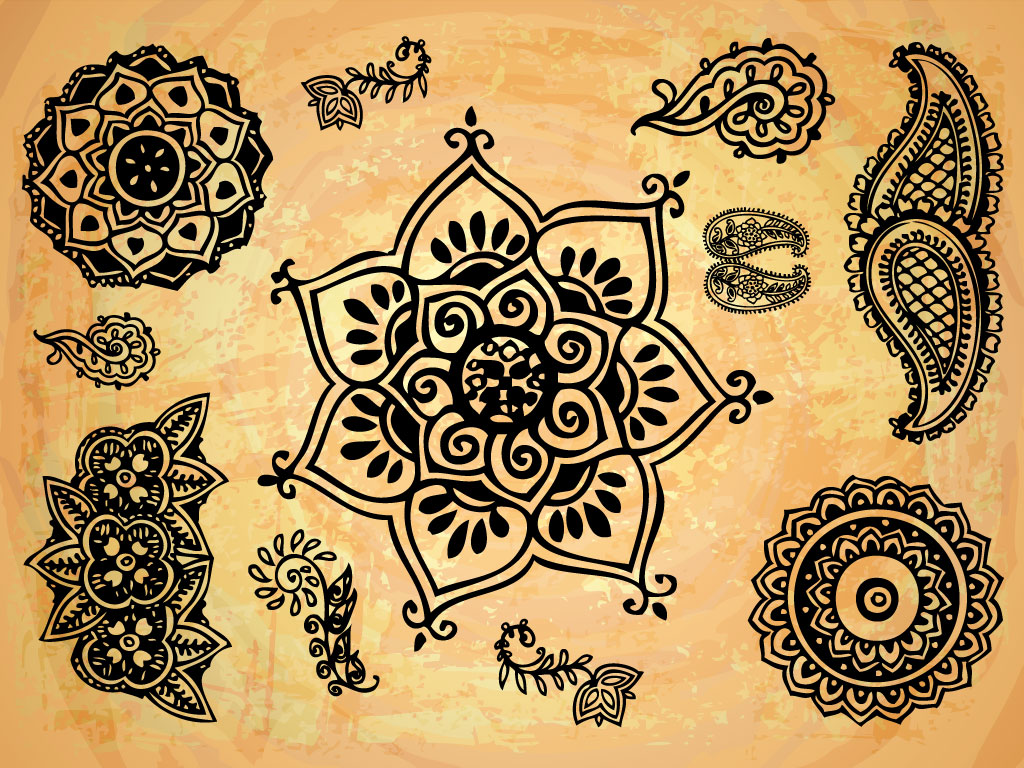 Indian Henna Flower Tattoo Designs