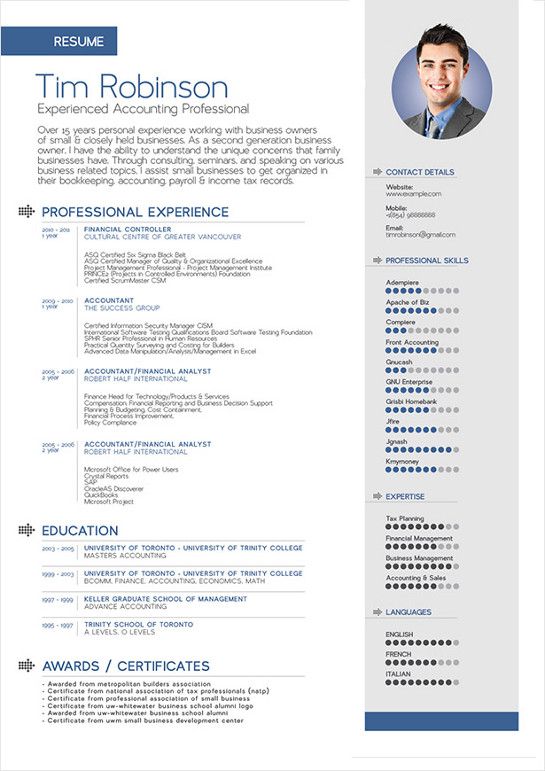 template cv pour pages ios